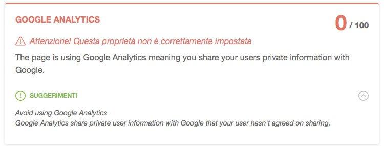 Notifica di errore del problema con google Analytics su Speed