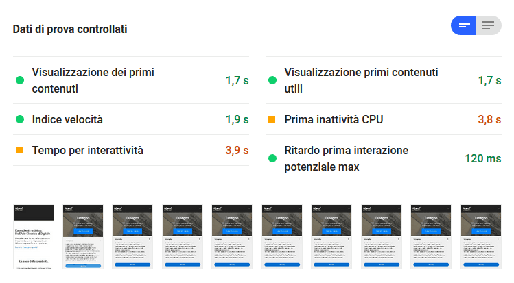 dati pagespeed google