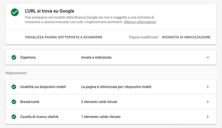 strumento per webmaster per il controllo url su google