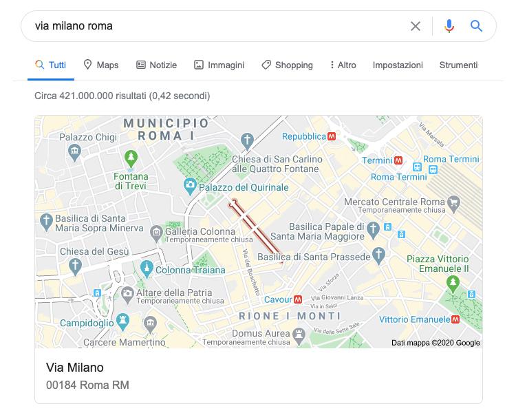 indicazioni stradali sulla mappa di google