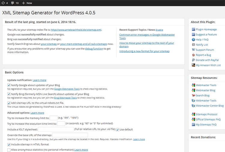 plugin sitemap per wordpress